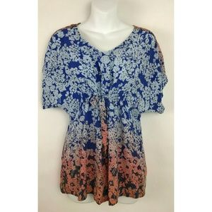 CAbi Blue Peach Floral Boho Front Tie Short Sleeve